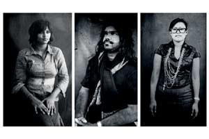 Black and white: (from left) Fatafat portraits of magazine editor Vibha Kumar, music documentary film-maker Reshil Charles and fashion stylist Ranjunee Chakma.