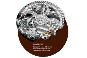 Movement: Blancpain's own 40F6 calibre movement comprises 398 components and 37 rubies.