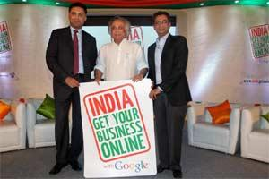 Rural development minister Jairam Ramesh (C), with Nikesh Arora (L), president - global sales operations and business development of Google and vice-president Rajan Anandan launching a nationwide init
