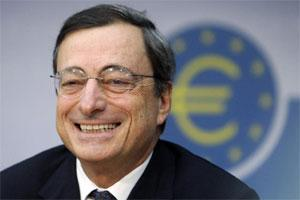 European Central Bank new president Mario Draghi speaks during a press conference in Frankfurt, Germany. Photo: AP.