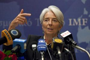 Christine Lagarde, MD, IMF speaks during a news conference in Beijing, China, on Thursday. Bloomberg.