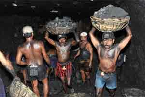 A file photo coal mine workers