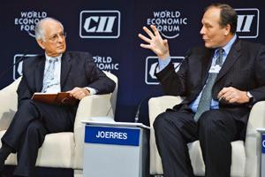 Key priorities: Planning Commission member Arun Maira (left) and Jeffrey Joerres, chairman and chief executive officer, Manpower Group. By World Economic Forum/Eric Miller