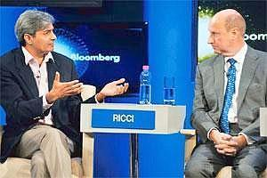 Middle path: Janalakshmi Financial Services chairman Ramesh Ramanathan (left) and Rich Ricci, co-chief executive of Barclays Capital, during a discussion at the WEF India Economic Summit on Monday