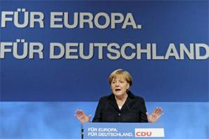 German Chancellor Angela Merkel says the European Union must be strengthened to overcome the bloc's debt crisis on Monday. AP