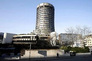 The exterior of the Bank for International Settlements can be seen in Basel, Switzerland. (File photo)
