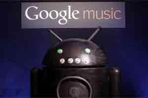 Sign for the Google digital music store is seen during an unveiling event in Los Angeles. Photo: AP