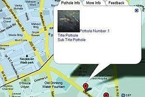 Mapped: A pothole marked by a user with the BMC's Android app.
