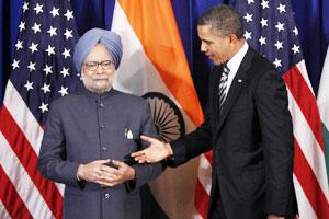 Prime Minister Manmohan Singh meets with US President Barack Obama on the sidelines of the Asean and East Asia summit in Nusa Dua, Indonesia on Friday. AP