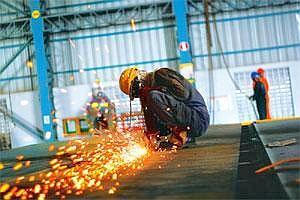 Setting targets: A Larsen and Toubro factory at Hazira, Gujarat. (Prashanth Vishwanathan/Bloomberg)