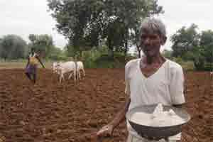 A file photo of a farmer using fertiliser on his land