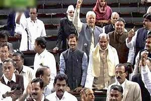 Opposition members protesting against FDI in retail in the Lok Sabha (PTI)