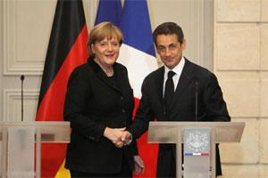 German Chancellor Angela Merkel (L) and France's President NicolasSarkozy (R). Photo: AP