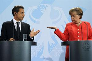 French President Nicolas Sarkozy (L) and German Chancellor Angela Merkel. Photo: Reuters