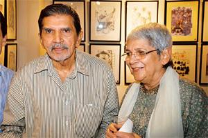 Creative flow: Mario and Habiba Miranda during an exhibition at Cymroza Art Gallery in Mumbai. Hindustan Times