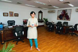 Innovative thinker: Her office has a desk and small meeting table (Photographs by Aniruddha Chowdhury/Mint)
