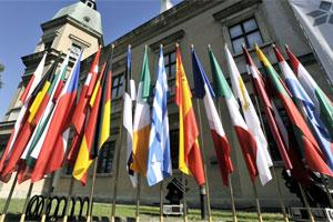 Flags of the member states of EU on display. Photo: Bloomberg