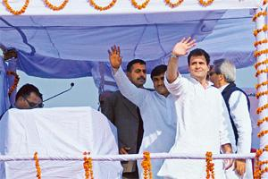 Gathering support: Rahul Gandhi addressing a rally in Babrala, Uttar Pradesh, on Tuesday. Pradeep Gaur/Mint