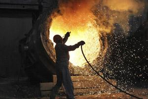 A file photo of an employee works at the Maanshan steel and iron factory in Hefei, Anhui province. Reuters