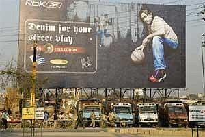 A file photo  of hoardings advertising products using celebrity brand endorsements in Delhi and NCR