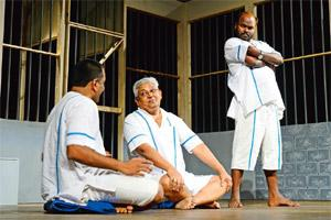 Ray of hope: (from left) Umesh Jagtap, Shrikant Dadarkar and Milind Shinde play three convicts. Photo by Kedar Bhat/Mint.