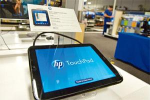 Logged out: The TouchPad displayed at a Best Buy store in California. Photo: David Paul Morris/Bloomberg