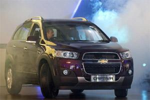 A General Motors Co. Chevrolet Captiva SUV is displayed at the Auto Expo 2012 in New Delhi on Thursday. Bloomberg