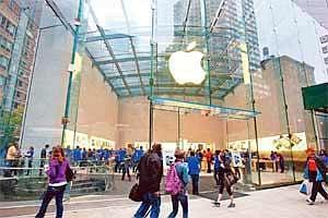 Wide presence: A file photo of an Apple store in New York. The company currently has retail stores across the world, including the US, the UK, Germany, France, China and Japan.