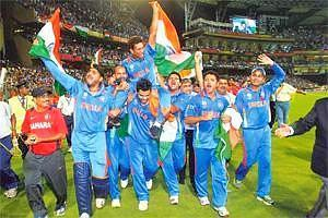 It's just not cricket: Sachin Tendulkar with teammates after last year's World Cup. Hamish Blair/Getty Images