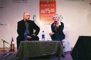 Writer Hanif Kureishi (left). Photo: Maaz Khan/ British Council Pakistan