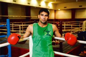 Nothing to lose: Kumar has an aggressive all-or-nothing approach to boxing. Photo: Pradeep Gaur/Mint.