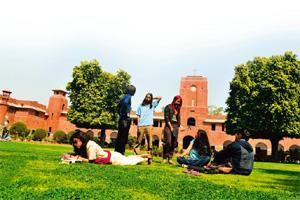 Hang-out zone: Andrews Court, the lawn in front of the building. Photographs by Priyanka Parashar/Mint
