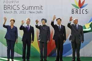 BRICS leaders, from left, Brazil's President Dilma Rousseff, Russian President Dmitry Medvedev, Indian Prime Minister Manmohan Singh, Chinese President Hu Jintao and South African President Jacob Zuma