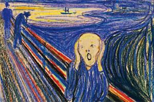 Iconic artwork: Norwegian painter Edvard Munch's The Scream set a record on Wednesday when his 1895 pastel of a man clutching his cheeks along an Oslo fjord sold for $119.9 million at Sotheby's—the mo