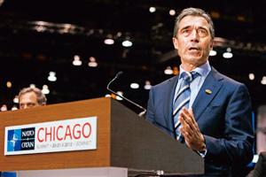Costly war: Nato secretary general Anders Fogh Rasmussen in Chicago on Sunday. By Carolyn Kaster/AP