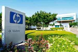 Realignment strategy: The HP logo displayed outside the company's HP Enterprise Services unit in Plano, Texas. The firm said it would cut its ranks by 27,000 employees, or 7.7% of a global workforce o