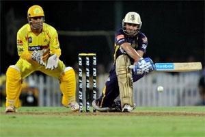 Kolkata Knight Riders batsman Manvinder Bisla plays a shot