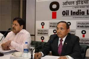 Oil India Limited CMD SK Srivastava (R) with Director (Finance) TK Ananth Kumar addressing a press conference in New Delhi on Monday. PTI