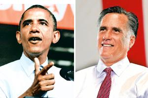 Striking similarities: Barack Obama (Jason Reed/Reuters), left and Mitt Romney (Justin Sullivan/Getty Images/AFP).