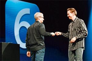 Mapping war: Apple CEO Tim Cook (left) and Scott Forstall, the company's senior vice-president for iOS software, at Apple's annual developers' conference in San Francisco on Monday(Stephen Lam/Reuters