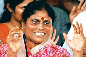 Political legacy: Y.S. Vijayalakshmi, mother of YSR Congress chief Jagan Reddy, after their party's victory in the by-elections, in Hyderabad. Photo: Priyanka Parashar/Mint