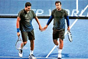 Making a racket: Bhupathi (left) and Paes during the 2011 ATP World Tour in London. Glyn Kirk/AFP
