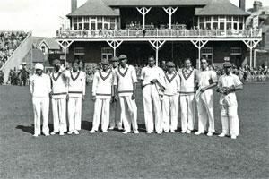 Extraordinary men: A part of the Indian team that went on that historic first tour to England, at Lord's in June 1932: (from left) Lall Singh, S. Nazir Ali, M. Jahangir Khan, S. Wazir Ali, S.R. Godamb