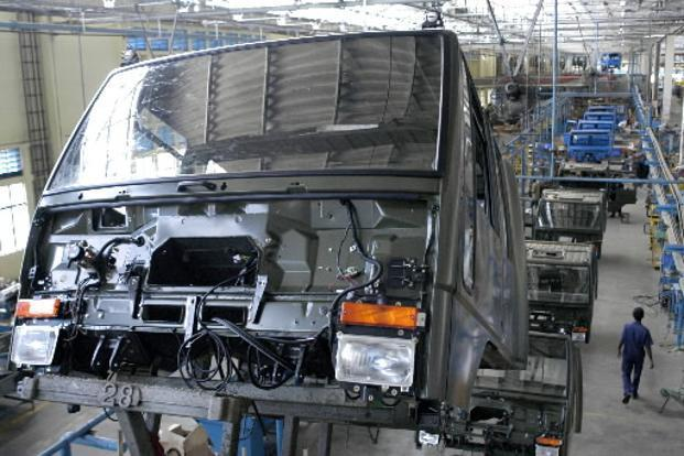 Ashok Leyland Ltd. production line in Hosur, India. Bloomberg