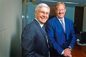 Upbeat on prospects: Wilfried Aulbur (left) and Ralf Kalmbach of Roland Berger. Abhijit Bhatlekar/Mint