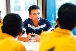 Writing on The Wall: Rahul Dravid. Photo: Vincent Thian/AP