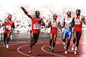 Race of the century: Ben Johnson (second from left) was stripped of the gold medal and Carl Lewis (extreme right) was declared winner. Mike Powell/Getty Images