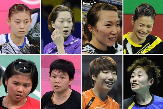 A combination of pictures on shows eight badminton players that were disqualified on Wednesday in a match-fixing scandal at the Olympic badminton tournament in London. (Top left-right) South Korea's Kim Ha Na, Ha Jung-Eun, Kim Min-Jung, Jung Kyung-Eun. (Bottom left-right) Indonesia's Greysia Polii, Meiliana Jauhari and China's Wang Xiaoli and Yu Yang. AFP PHOTO