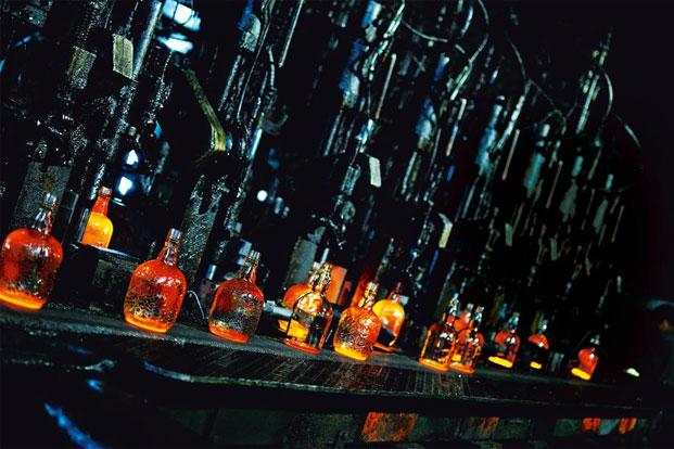 Signature Old Monk bottles being filled at the Ghaziabad factory. Photo: Pradeep Gaur/Mint (Pradeep Gaur/Mint)