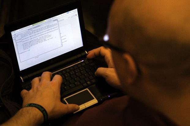 A file photo of a participant at a conference of computer hackers in Germany. Photo: Getty Images